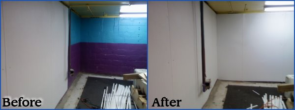 Interior Channel Basement Waterproofing White Wall Panels